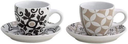 Brandani 53179 Alhambra Tazzina caffè, Set 2 pezzi, Stoneware, multicolore