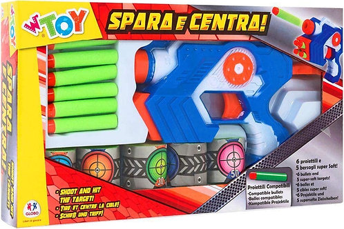 Globo- Soft Bullet Gun Shooter W/6 Bullets/5 Targets (37952), Multicolore (1)