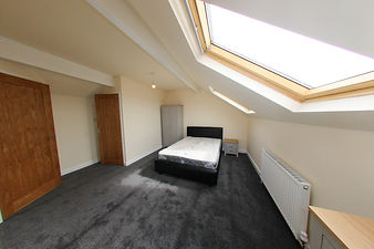 Modern brand new British bedroom, showin