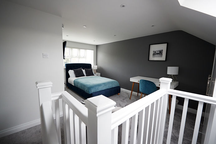Interior of a house, loft conversion bed