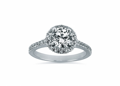 Platinum Halo Diamond Engagement Ring