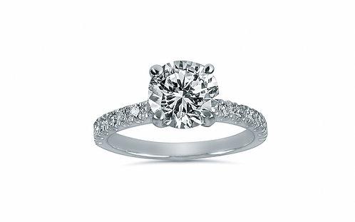 Platinum Micro Pave Round Diamond Engagement Ring