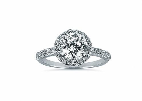 Platinum Small Halo Diamond Engagement Ring