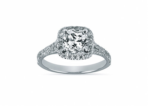 Split Shank Halo Princess Cut Diamond Engagement Ring