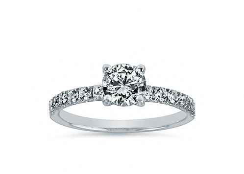 Petite Micro Pave Round Diamond Engagement Ring