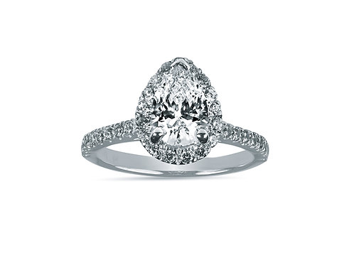 Pear Shape Halo Diamond Engagement Ring