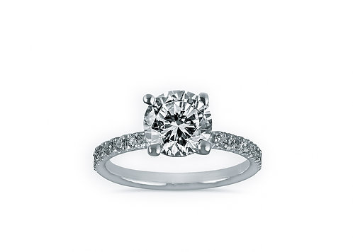 French Micro Pave Round Diamond Engagement Ring