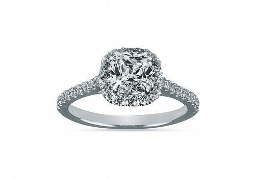 Platinum Cushion Cut Halo Diamond Engagement Ring