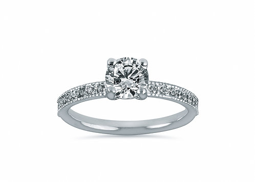 Platinum Micro Pave Round Diamond Engagement Ring
