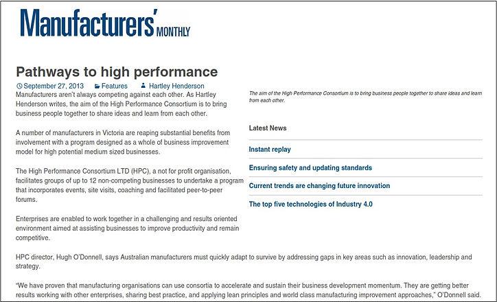 Pathways to high performance - Manufactu