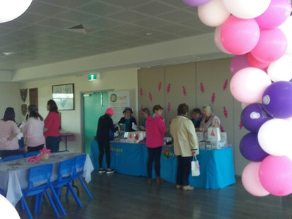 """TRYACT at  """"Yanchep Red Hawkes Football Club Pink Ribbon Day"""" for Cancer with Mayor  Tracey Roberts."""