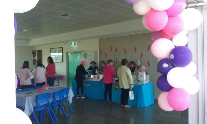 "TRYACT at  ""Yanchep Red Hawkes Football Club Pink Ribbon Day"" for Cancer with Mayor  Tracey Roberts."