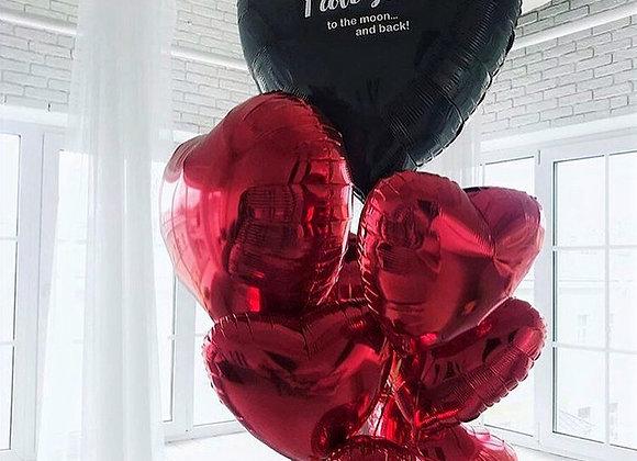 Большое сердце и связка сердец