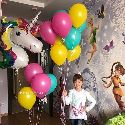 Воздушные шары с единорогом радужным