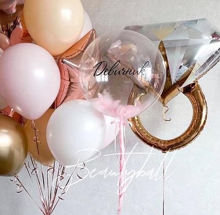 Связка, золотое кольцо и Bubble с надписью