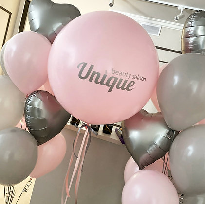 Шар с лого и связки pink & gray
