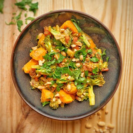 Zoete aardappel curry.