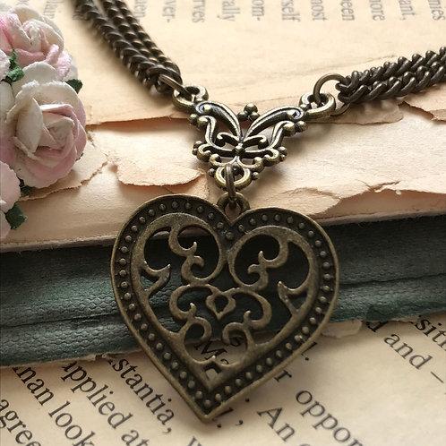 Vintage Heart Necklace Bronze Bohemian