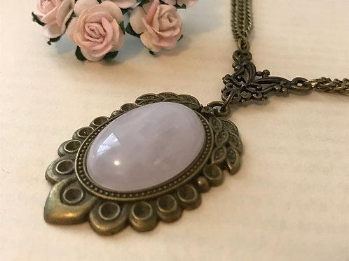 Rose Quartz Gemstone Necklace Bronze Bohemian