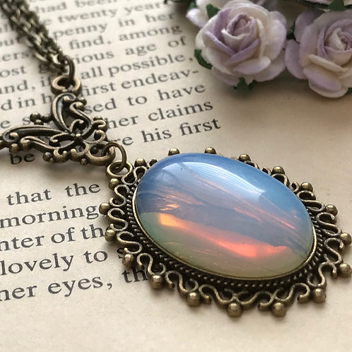 Opalite Gemstone Necklace Bronze
