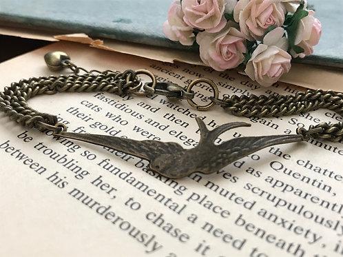 Swallow Bird Bracelet Delicate Bronze