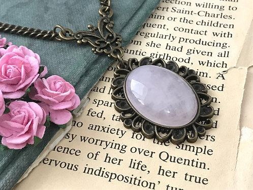 Smoky Rose Quartz Gemstone Bohemian Bronze Pendant