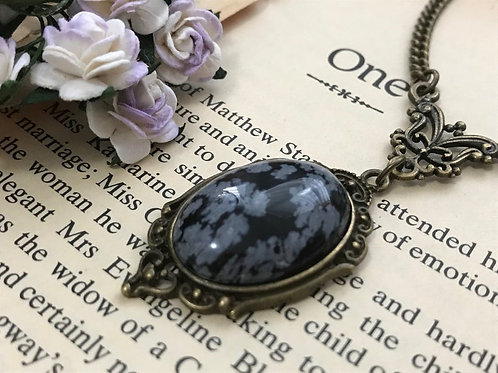 Obsidian Snowflake Gemstone Bronze Necklace