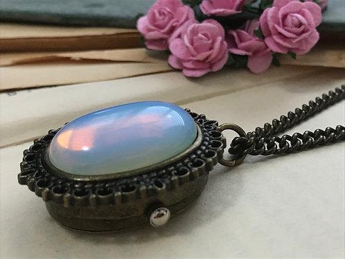 Opalite Gemstone Watch Necklace Bronze Filigree