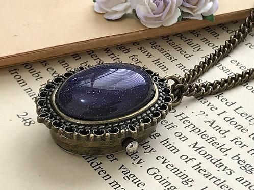 Purple Gemstone Watch Necklace Bronze