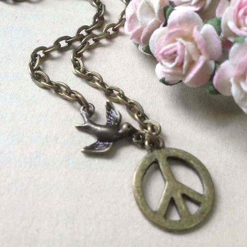Bird of Peace Necklace Bronze