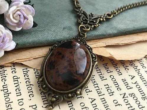 Obsidian Mahogany Gemstone Bronze Necklace