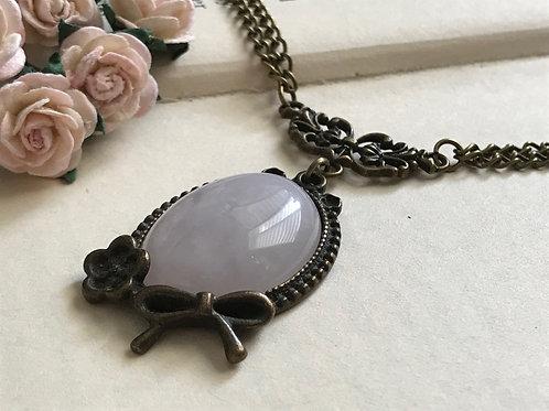 Rose Quartz Gemstone Necklace Bronze Vintage