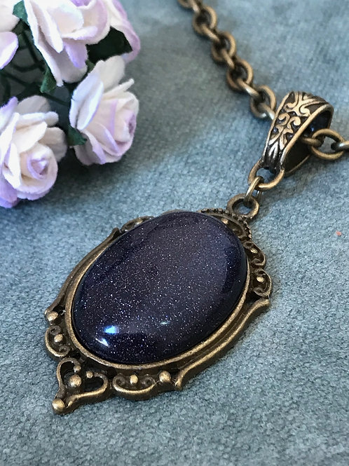 Purple Gemstone Necklace Bronze Bohemian