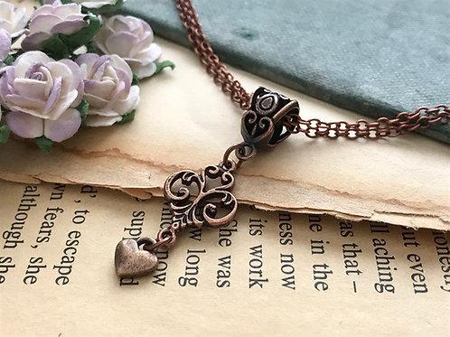 Fleur de Lis Copper Necklace Bohemian