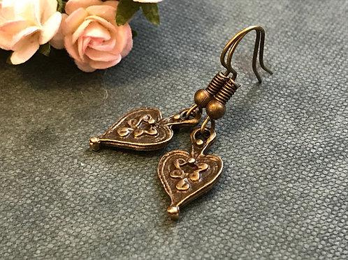 Vintage Heart Drop Earrings Bronze
