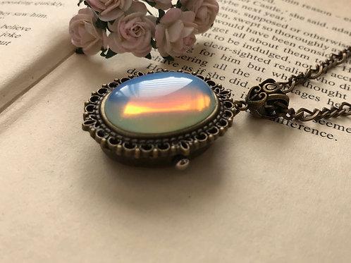 Opalite Gemstone Watch Necklace Bronze Figaro Chain