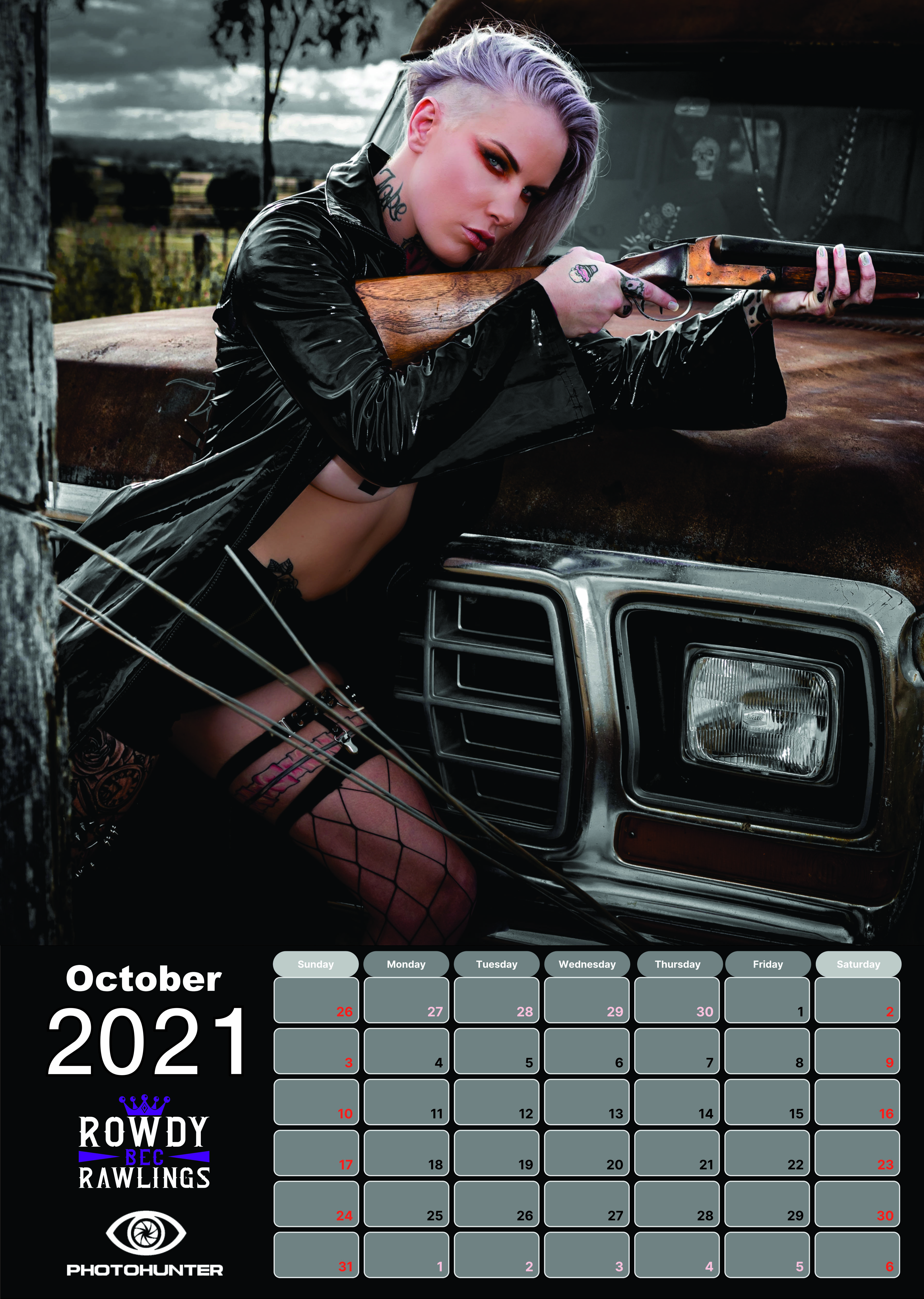 RowdyBec Calendar 2021 October - PhotoHunter - Smoking Mirrors Collection