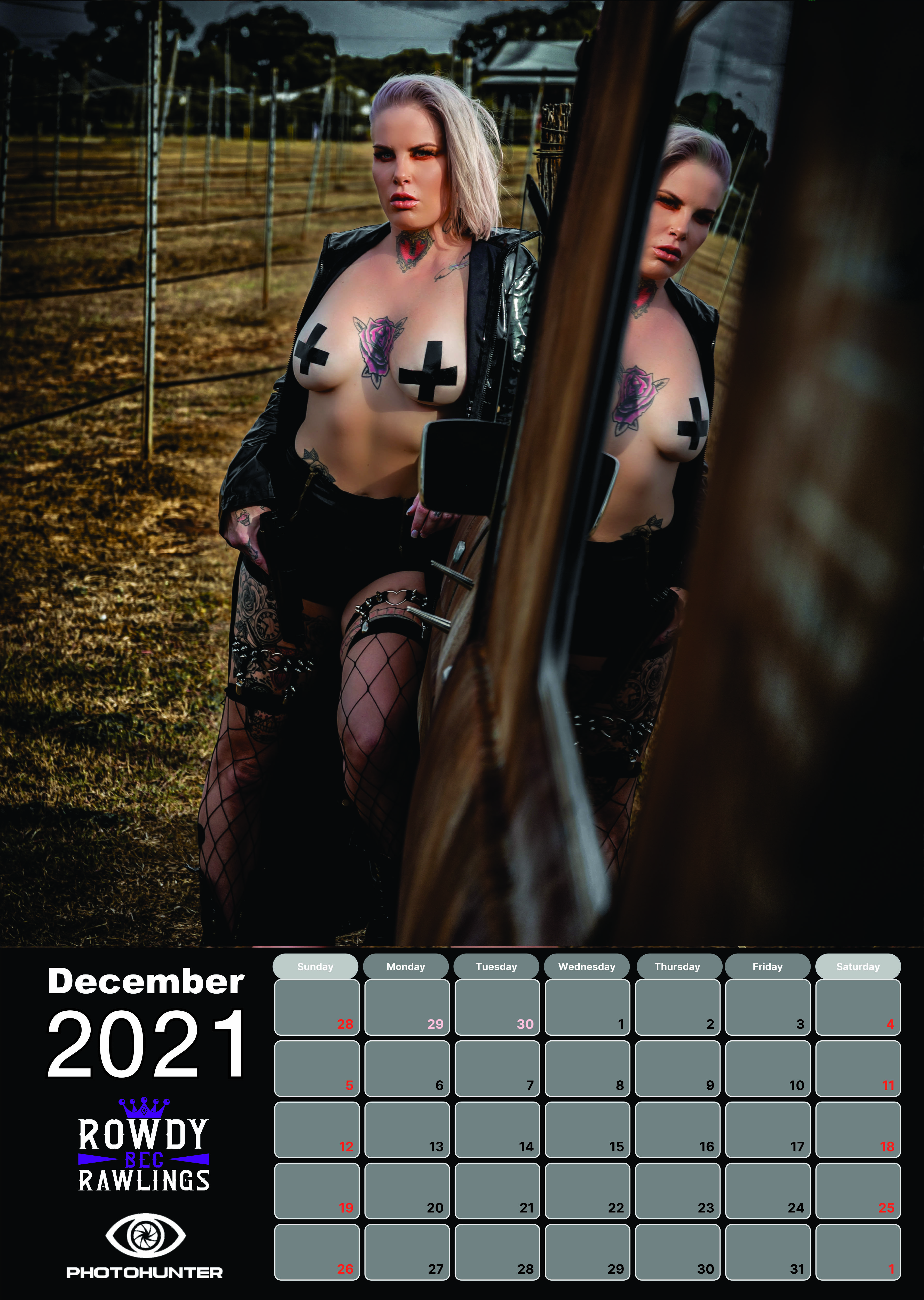 RowdyBec Calendar 2021  - PhotoHunter - Smoking Mirrors Collection