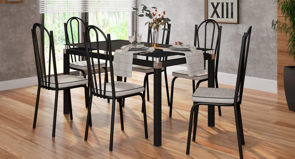Conjunto Malva de 1,40 com 6 cadeiras 121