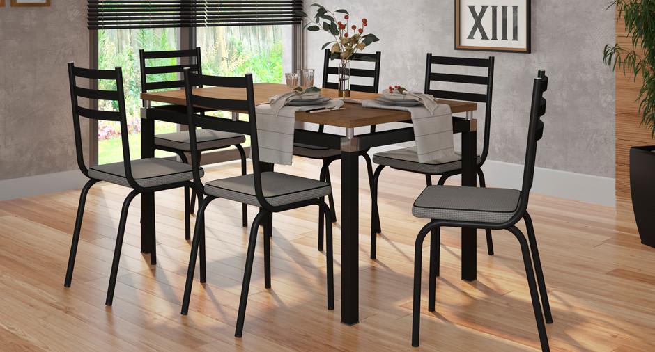 Conjunto Malva de 1,36 com 6 cadeiras 118