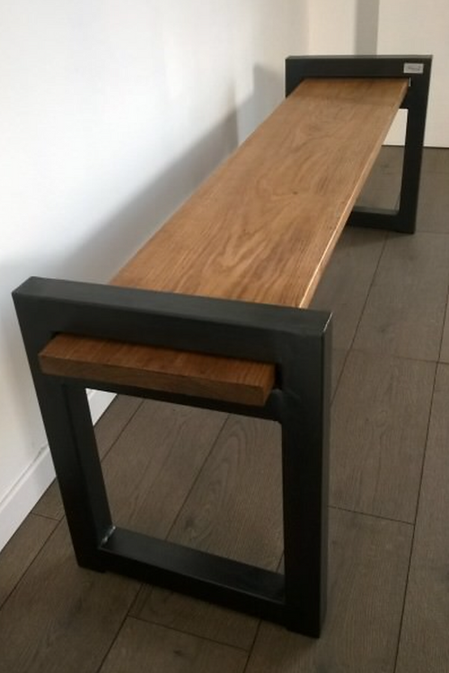 Rustic Industrial Bench Seat With Metal Legs