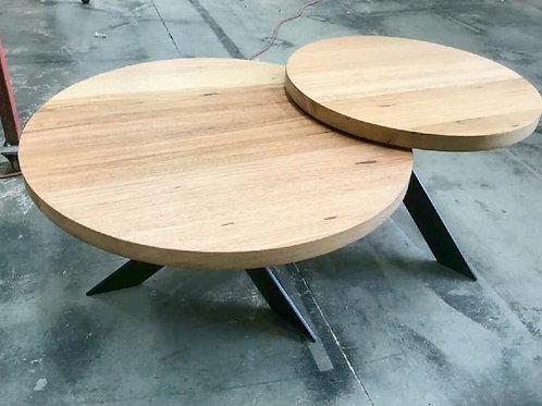 171. Tasmanian oak round nesting coffee tables with metal legs