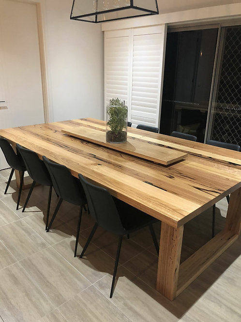 184. Wild Messmate dining table with wooden legs