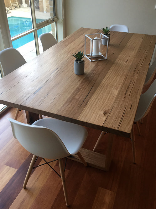 114. messmate dining table with wooden legs