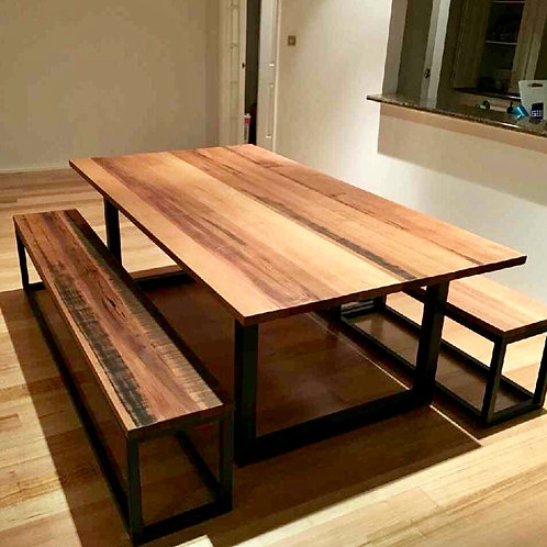 151. Rustic dining table with bench seats