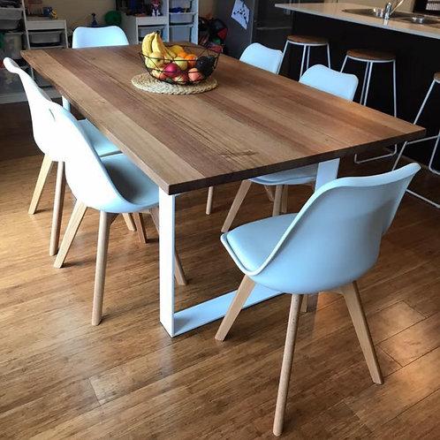 153. Tasmanian oak dining table with white metal legs