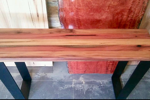 170. Spotted gum hall table with flat bar metal legs