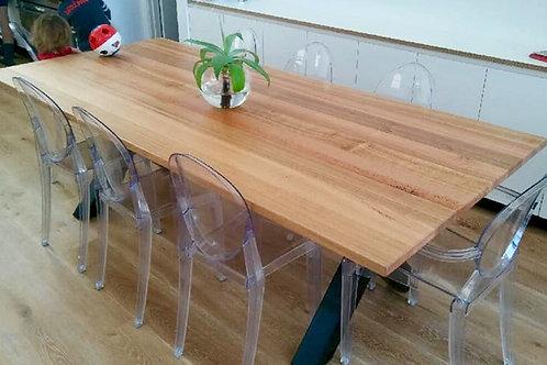 169. Tasmanian oak dining table with cross metal legs