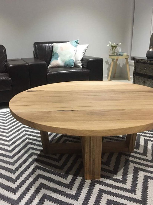104. Recycled messmate round coffee table