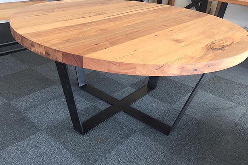 164. Spotted gum and Messmate round dining table with black metal legs